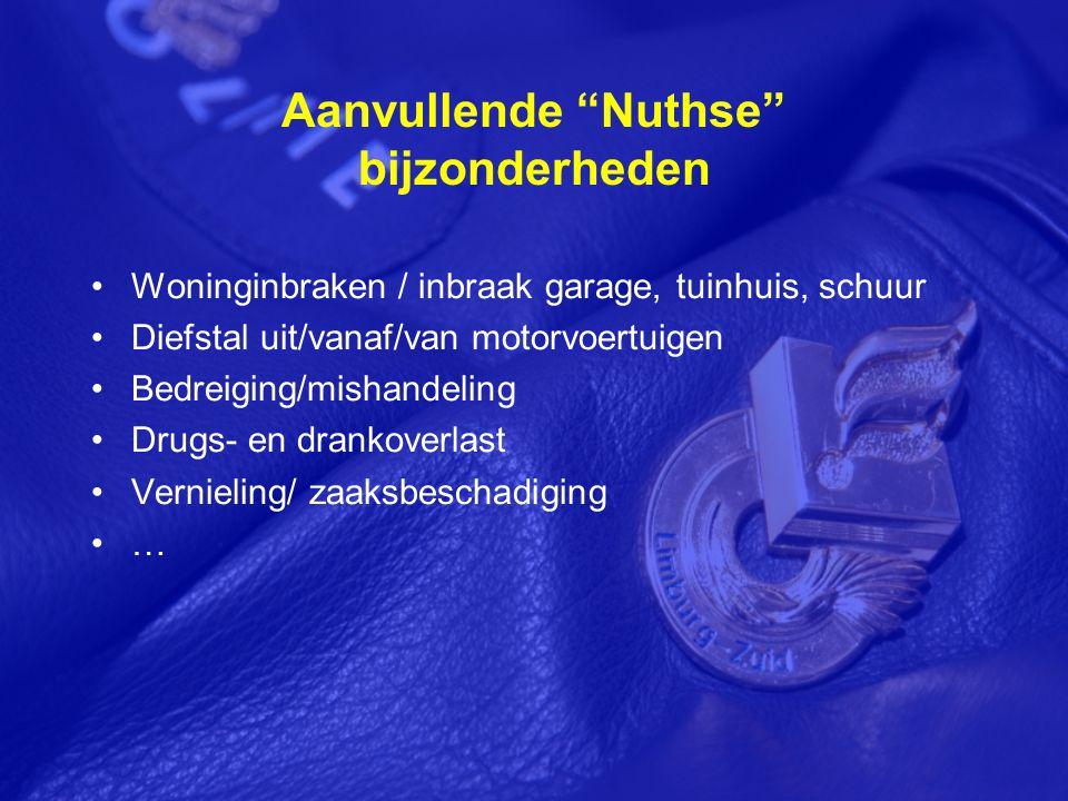 Aanvullende Nuthse bijzonderheden Woninginbraken / inbraak garage, tuinhuis, schuur Diefstal uit/vanaf/van motorvoertuigen Bedreiging/mishandeling Drugs- en drankoverlast Vernieling/ zaaksbeschadiging …