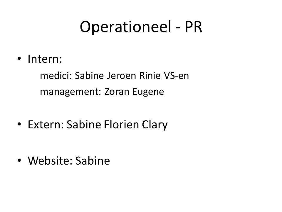 Operationeel - PR Intern: medici: Sabine Jeroen Rinie VS-en management: Zoran Eugene Extern: Sabine Florien Clary Website: Sabine