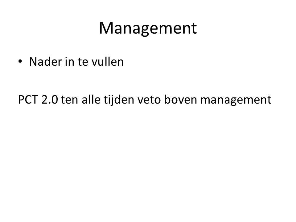 Management Nader in te vullen PCT 2.0 ten alle tijden veto boven management