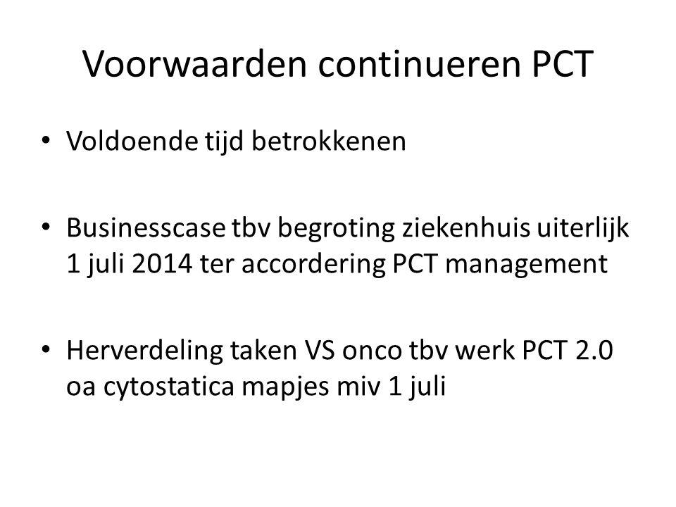 Voorwaarden continueren PCT Voldoende tijd betrokkenen Businesscase tbv begroting ziekenhuis uiterlijk 1 juli 2014 ter accordering PCT management Herverdeling taken VS onco tbv werk PCT 2.0 oa cytostatica mapjes miv 1 juli