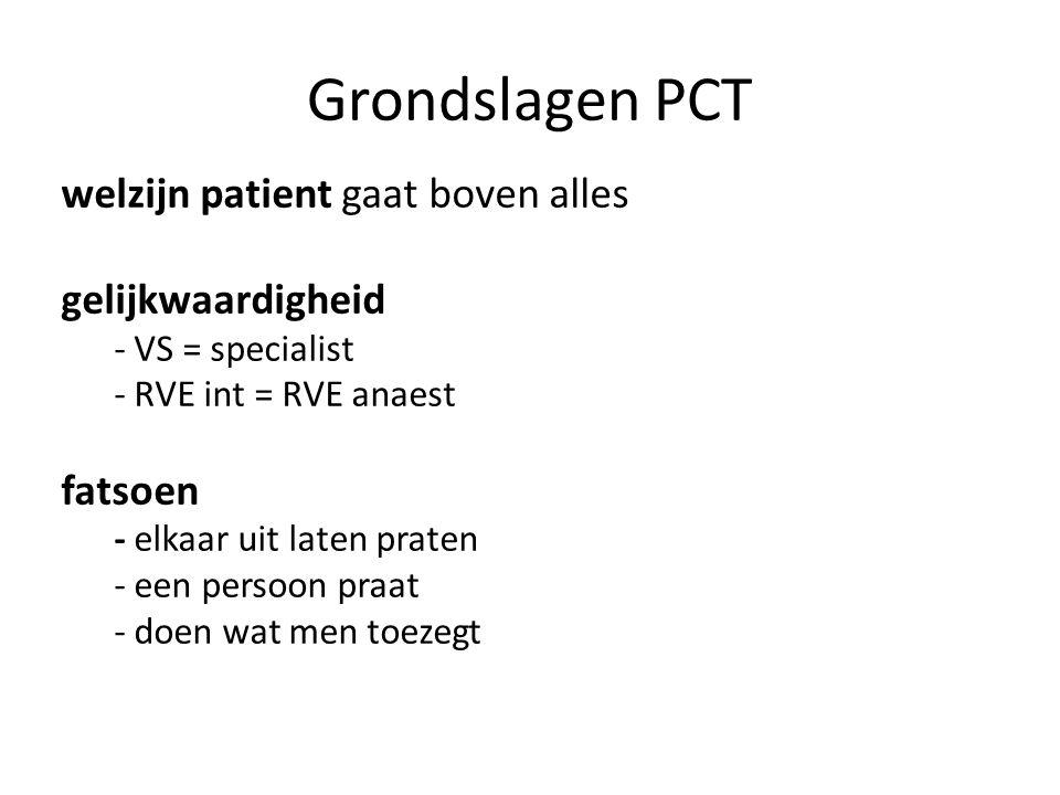 Grondslagen PCT welzijn patient gaat boven alles gelijkwaardigheid - VS = specialist - RVE int = RVE anaest fatsoen - elkaar uit laten praten - een persoon praat - doen wat men toezegt