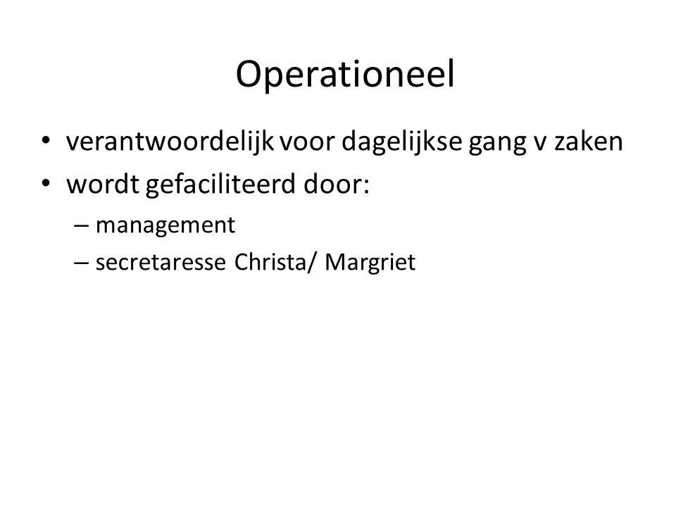 Operationeel verantwoordelijk voor dagelijkse gang v zaken wordt gefaciliteerd door: – management – secretaresse Christa/ Margriet