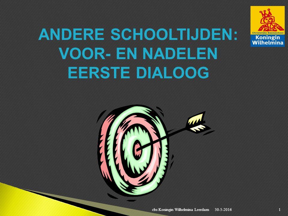 30-5-2016cbs Koningin Wilhelmina Leerdam1 ANDERE SCHOOLTIJDEN: VOOR- EN NADELEN EERSTE DIALOOG