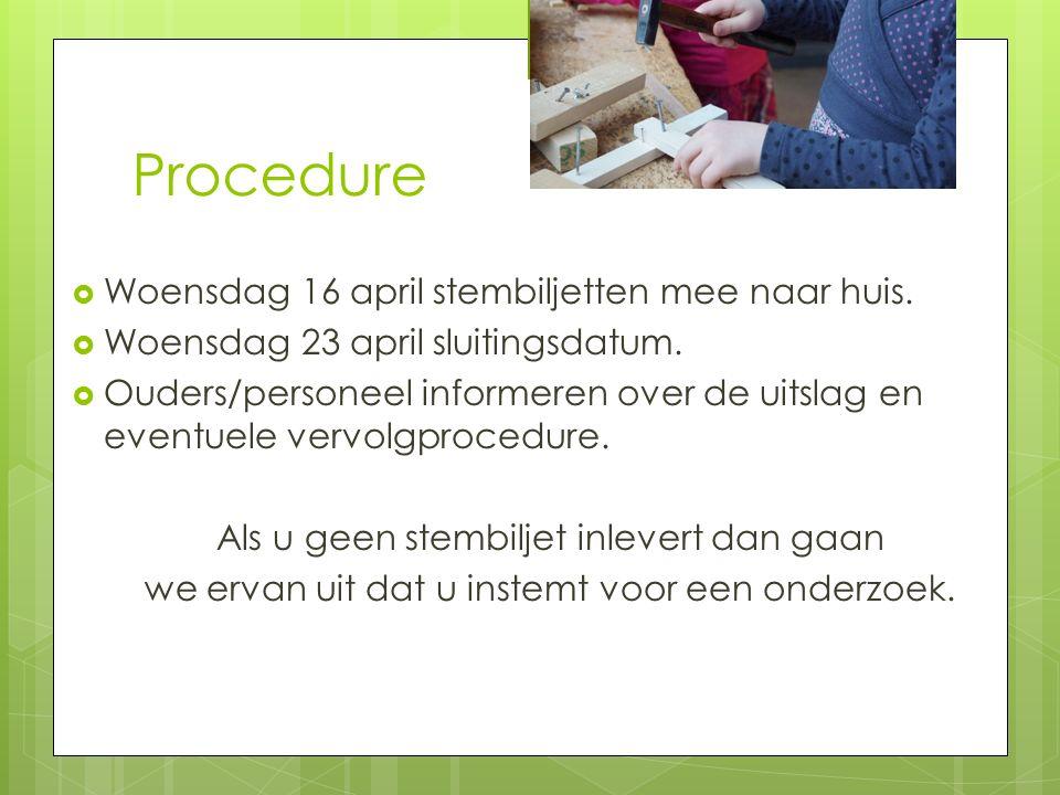 Procedure  Woensdag 16 april stembiljetten mee naar huis.