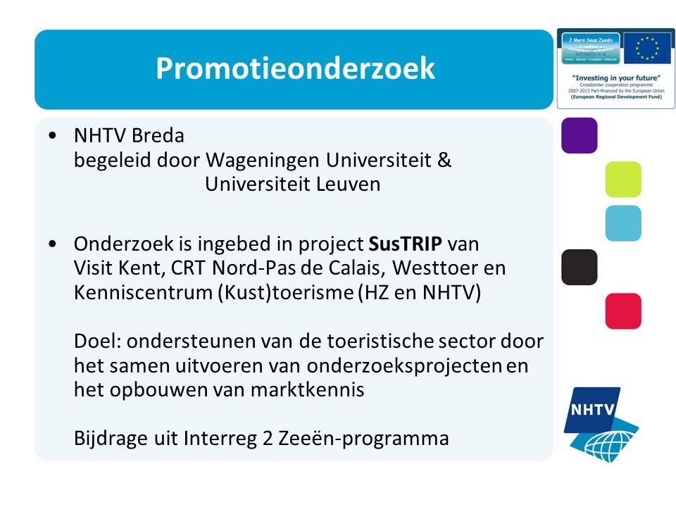 Promotieonderzoek NHTV Breda begeleid door Wageningen Universiteit & Universiteit Leuven Onderzoek is ingebed in project SusTRIP van Visit Kent, CRT Nord-Pas de Calais, Westtoer en Kenniscentrum (Kust)toerisme (HZ en NHTV) Doel: ondersteunen van de toeristische sector door het samen uitvoeren van onderzoeksprojecten en het opbouwen van marktkennis Bijdrage uit Interreg 2 Zeeën-programma