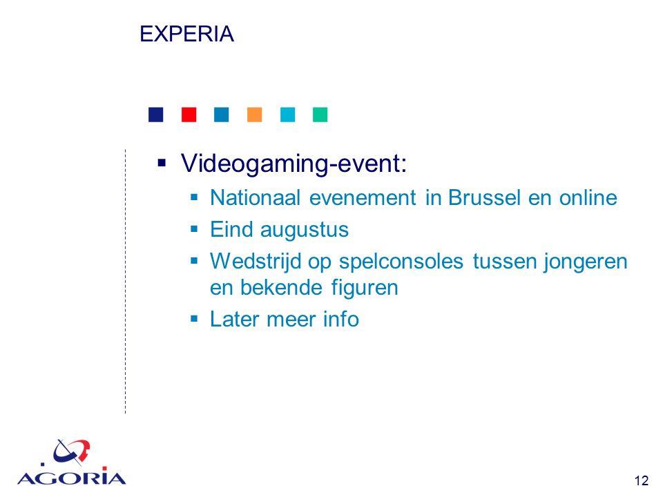            12 EXPERIA  Videogaming-event:  Nationaal evenement in Brussel en online  Eind augustus  Wedstrijd op spelconsoles tussen jongeren en bekende figuren  Later meer info