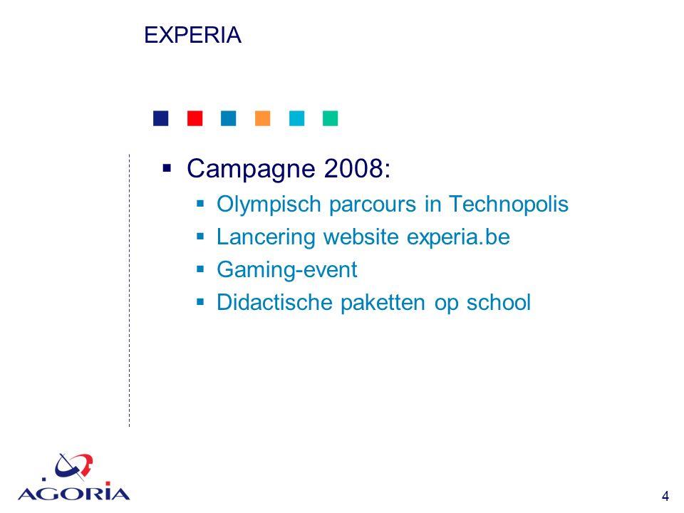            15 EXPERIA  Didactische pakketen voor scholen (2)  Pilootproject in oktober 2008 (5 Nl+ 5 Fr)  Vormingsdagen voor leerkrachten  Ontwikkeld door RVO-Society en vzw Hypothèse