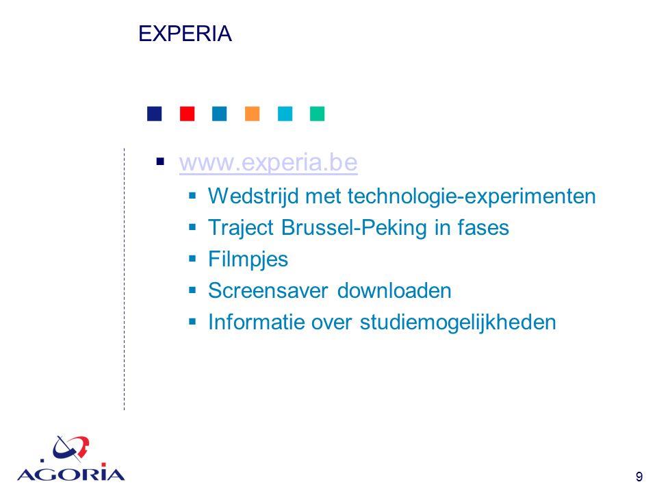            9 EXPERIA  www.experia.be www.experia.be  Wedstrijd met technologie-experimenten  Traject Brussel-Peking in fases  Filmpjes  Screensaver downloaden  Informatie over studiemogelijkheden