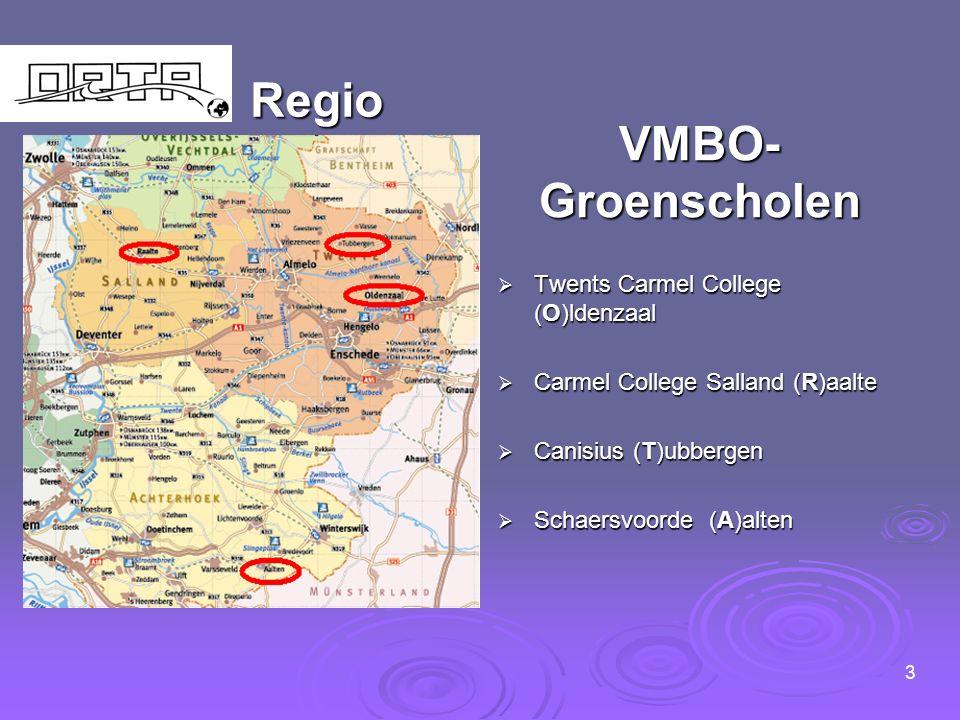 Regio VMBO- Groenscholen  Twents Carmel College (O)ldenzaal  Carmel College Salland (R)aalte  Canisius (T)ubbergen  Schaersvoorde (A)alten 3