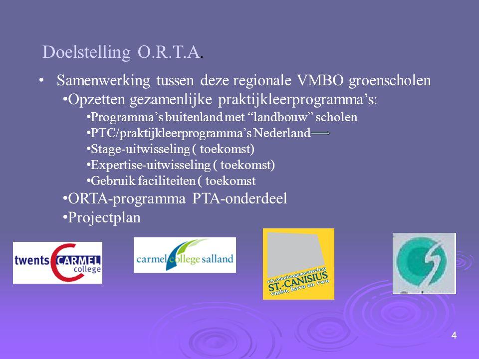 4 Doelstelling O.R.T.A. Samenwerking tussen deze regionale VMBO groenscholen Opzetten gezamenlijke praktijkleerprogramma's: Programma's buitenland met