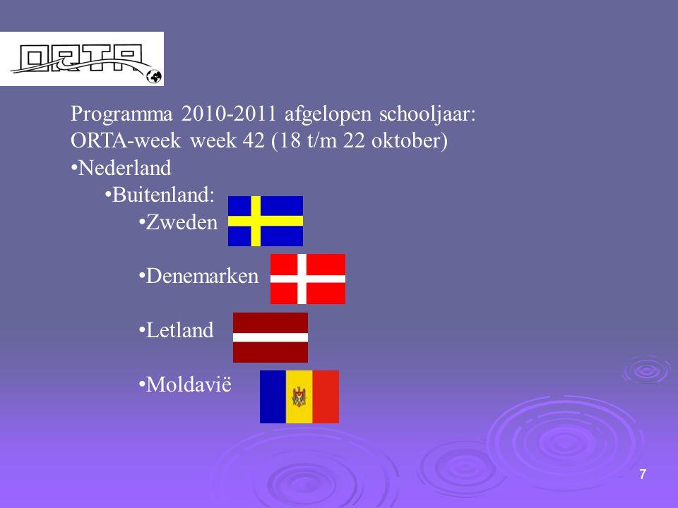 7 Programma 2010-2011 afgelopen schooljaar: ORTA-week week 42 (18 t/m 22 oktober) Nederland Buitenland: Zweden Denemarken Letland Moldavië