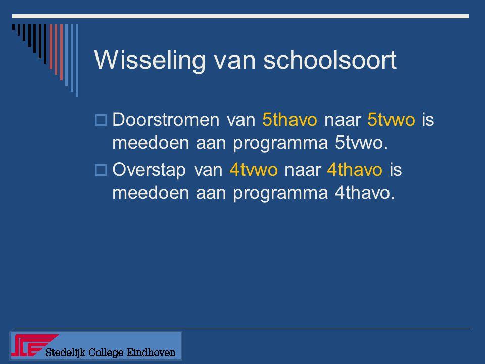 Wisseling van schoolsoort  Doorstromen van 5thavo naar 5tvwo is meedoen aan programma 5tvwo.  Overstap van 4tvwo naar 4thavo is meedoen aan programm