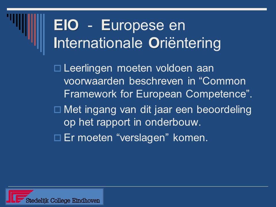 """EIOE IO EIO - Europese en Internationale Oriëntering  Leerlingen moeten voldoen aan voorwaarden beschreven in """"Common Framework for European Competen"""