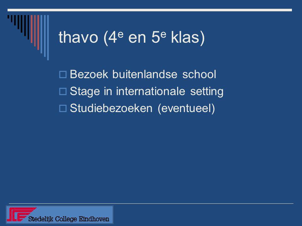 thavo (4 e en 5 e klas)  Bezoek buitenlandse school  Stage in internationale setting  Studiebezoeken (eventueel)
