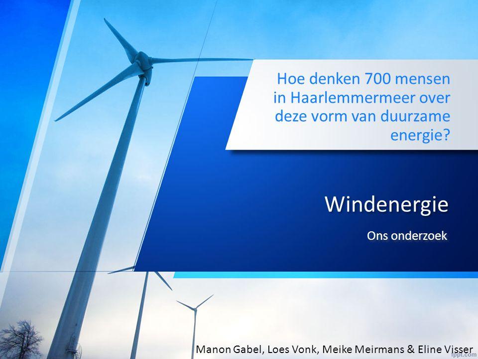 Windenergie Hoe denken 700 mensen in Haarlemmermeer over deze vorm van duurzame energie.