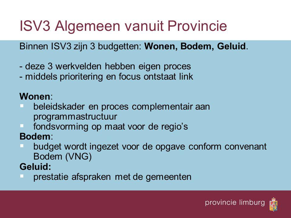 ISV3 Algemeen vanuit Provincie Binnen ISV3 zijn 3 budgetten: Wonen, Bodem, Geluid.
