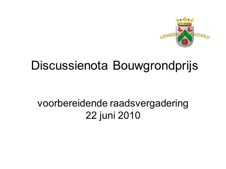 Discussienota Bouwgrondprijs voorbereidende raadsvergadering 22 juni 2010