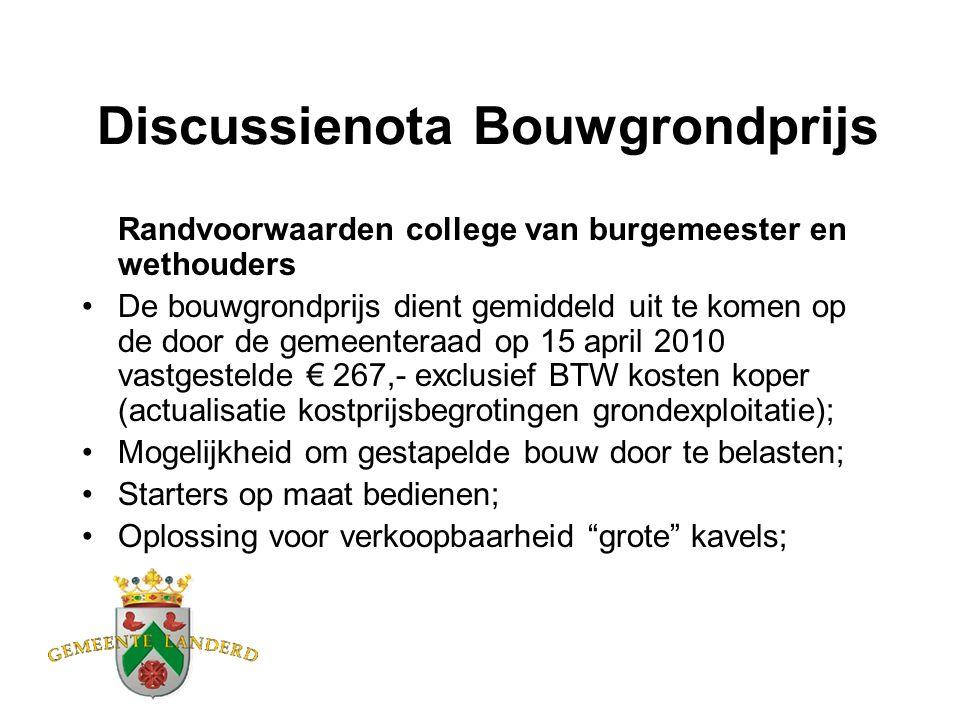 Discussienota Bouwgrondprijs Randvoorwaarden college van burgemeester en wethouders De bouwgrondprijs dient gemiddeld uit te komen op de door de gemee