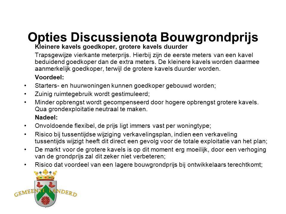 Opties Discussienota Bouwgrondprijs Kleinere kavels goedkoper, grotere kavels duurder Trapsgewijze vierkante meterprijs.