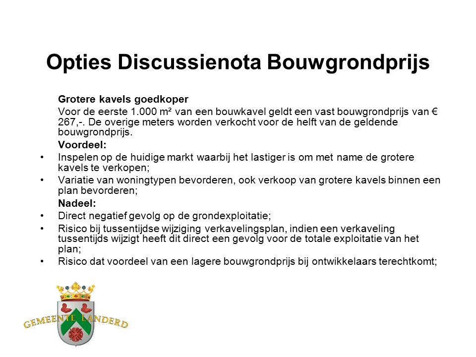 Opties Discussienota Bouwgrondprijs Grotere kavels goedkoper Voor de eerste 1.000 m² van een bouwkavel geldt een vast bouwgrondprijs van € 267,-.
