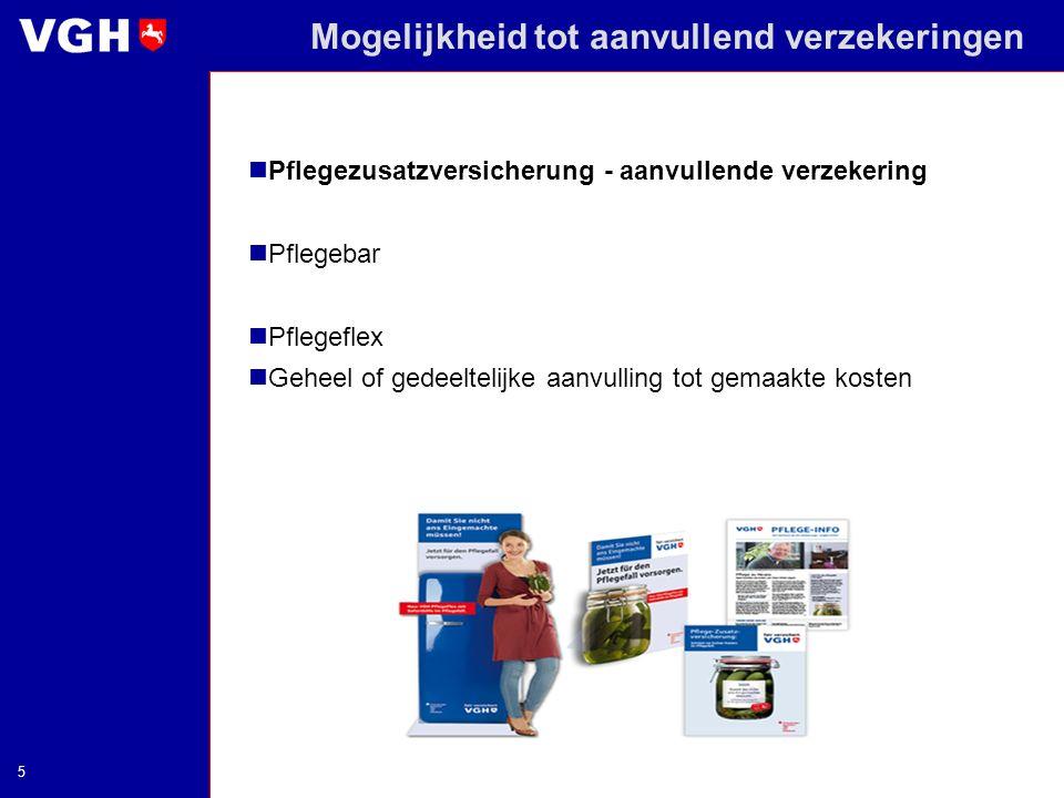 Mogelijkheid tot aanvullend verzekeringen Pflegezusatzversicherung - aanvullende verzekering Pflegebar Pflegeflex Geheel of gedeeltelijke aanvulling t