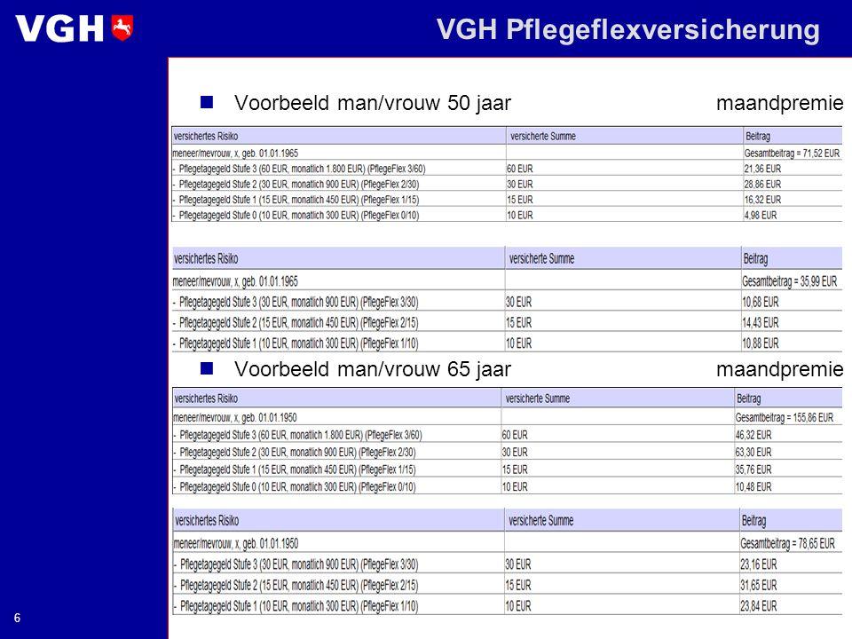 VGH Pflegeflexversicherung 6 Voorbeeld man/vrouw 50 jaarmaandpremie Voorbeeld man/vrouw 65 jaar maandpremie