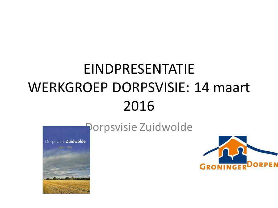 EINDPRESENTATIE WERKGROEP DORPSVISIE: 14 maart 2016 Dorpsvisie Zuidwolde