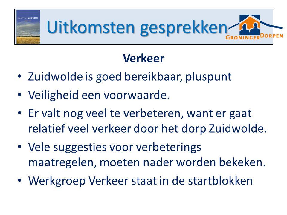 Uitkomsten gesprekken Verkeer Zuidwolde is goed bereikbaar, pluspunt Veiligheid een voorwaarde.