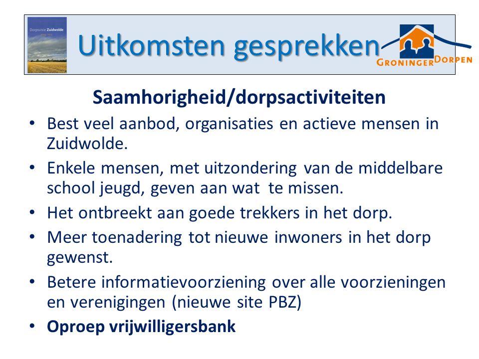 Uitkomsten gesprekken Saamhorigheid/dorpsactiviteiten Best veel aanbod, organisaties en actieve mensen in Zuidwolde. Enkele mensen, met uitzondering v