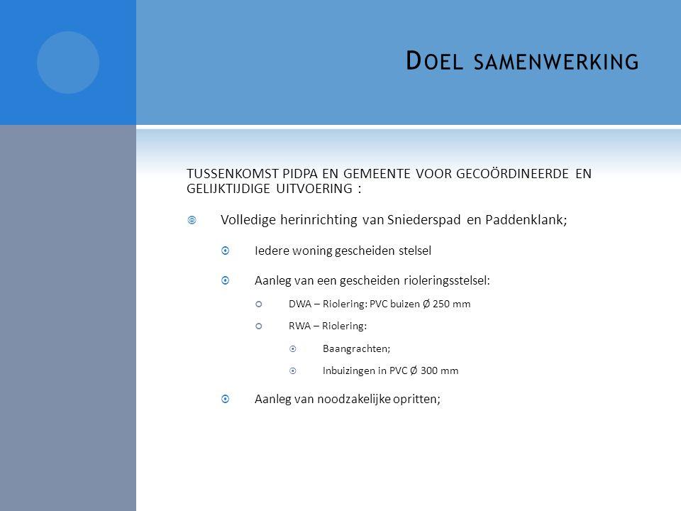 D OEL SAMENWERKING TUSSENKOMST PIDPA EN GEMEENTE VOOR GECOÖRDINEERDE EN GELIJKTIJDIGE UITVOERING :  Volledige herinrichting van Sniederspad en Padden