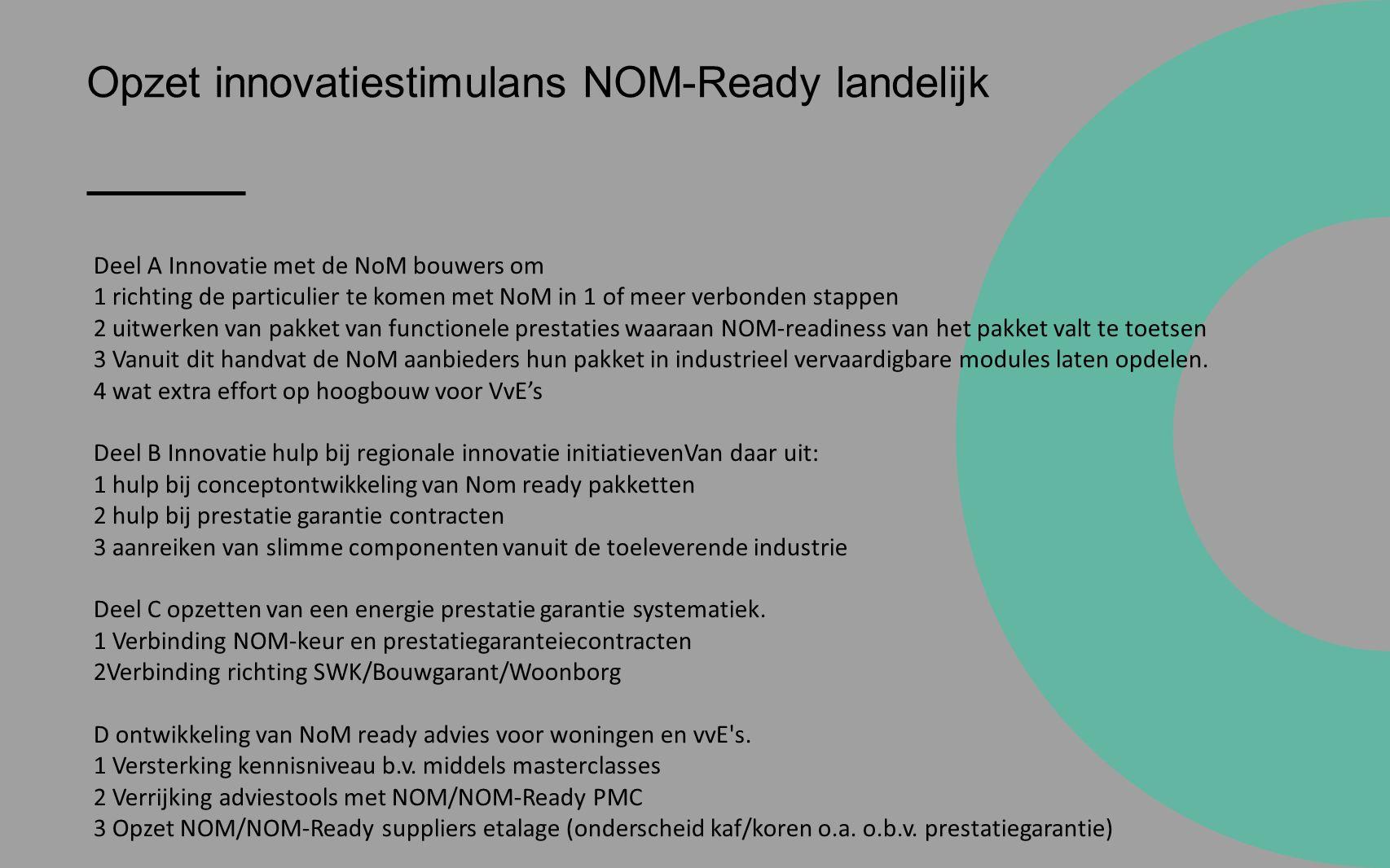 Opzet innovatiestimulans NOM-Ready landelijk Deel A Innovatie met de NoM bouwers om 1 richting de particulier te komen met NoM in 1 of meer verbonden stappen 2 uitwerken van pakket van functionele prestaties waaraan NOM-readiness van het pakket valt te toetsen 3 Vanuit dit handvat de NoM aanbieders hun pakket in industrieel vervaardigbare modules laten opdelen.