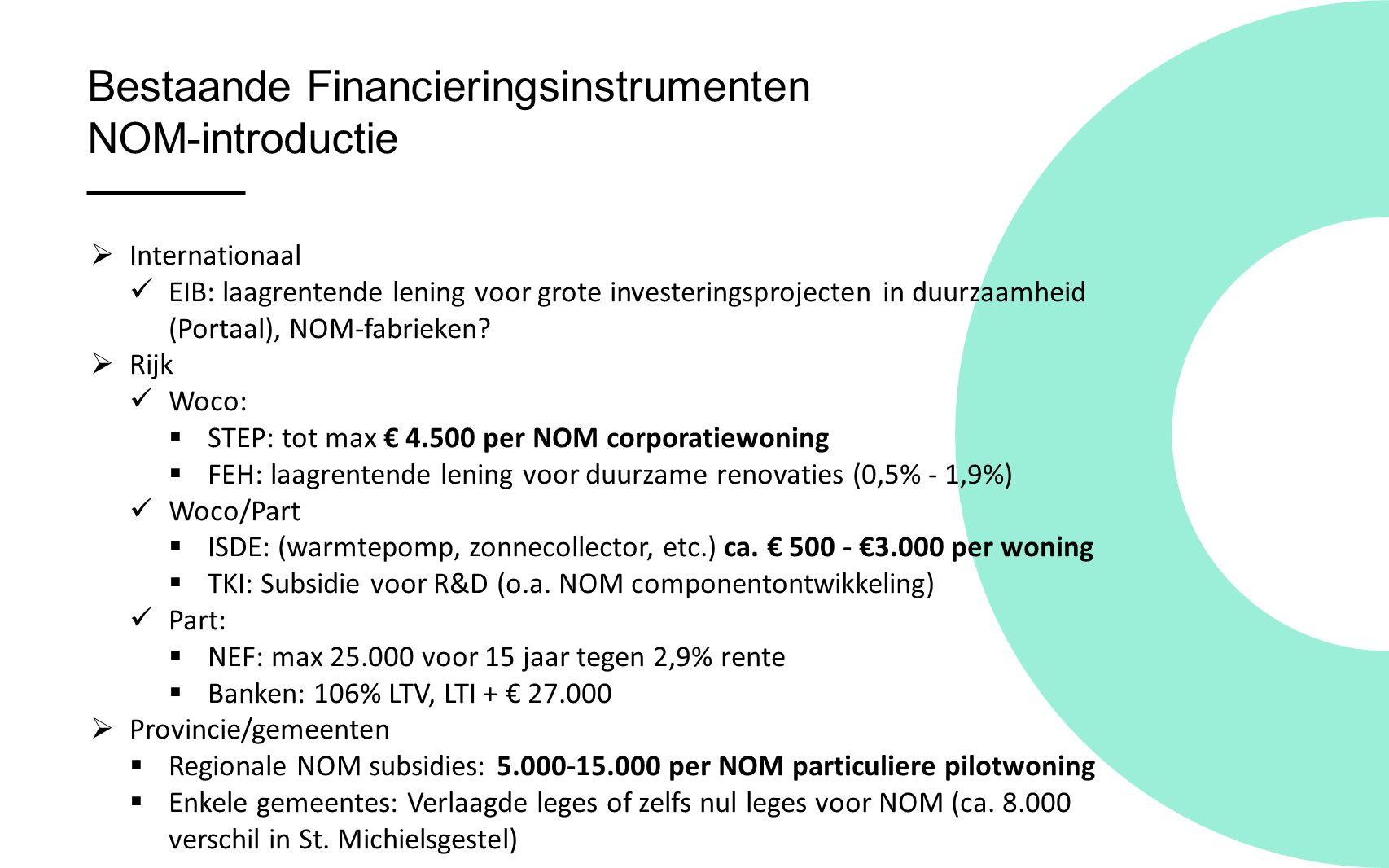 Bestaande Financieringsinstrumenten NOM-introductie  Internationaal EIB: laagrentende lening voor grote investeringsprojecten in duurzaamheid (Portaal), NOM-fabrieken.