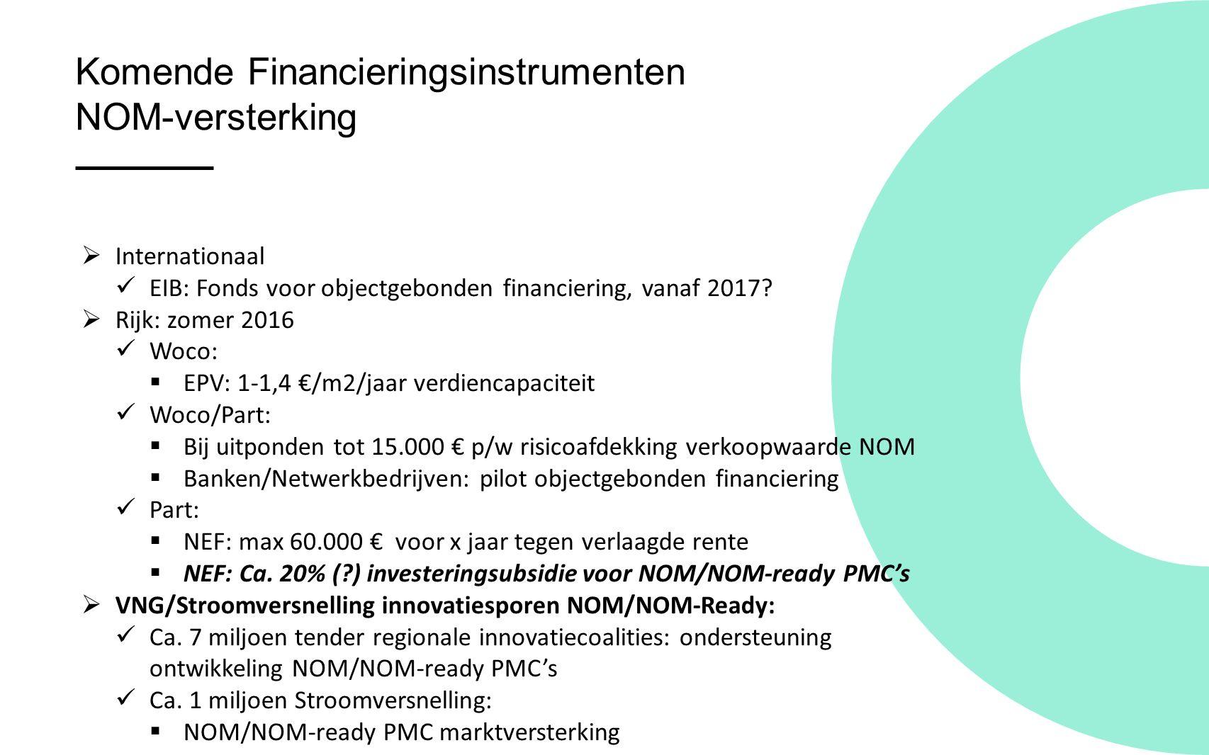 Komende Financieringsinstrumenten NOM-versterking  Internationaal EIB: Fonds voor objectgebonden financiering, vanaf 2017.
