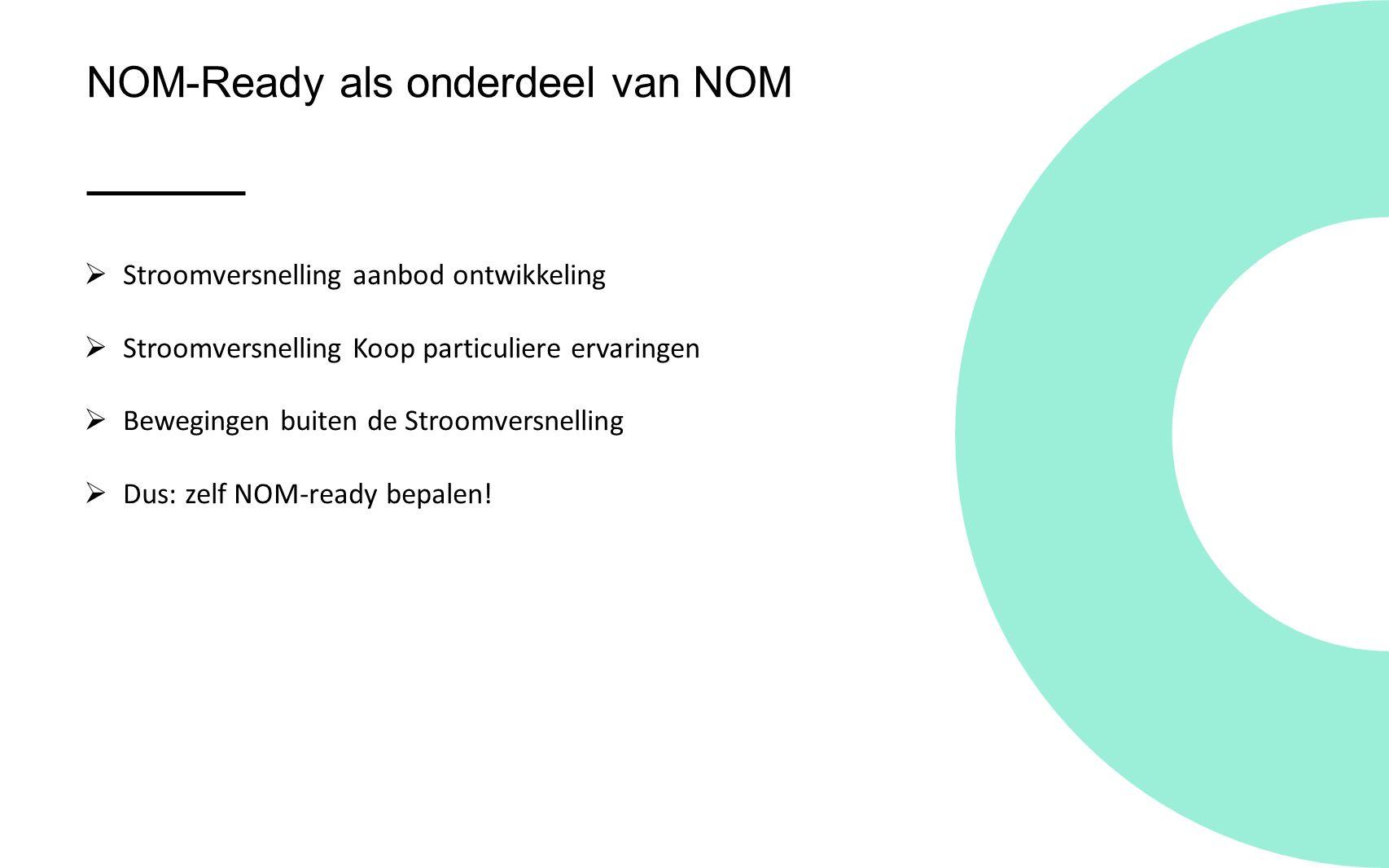 NOM-Ready als onderdeel van NOM  Stroomversnelling aanbod ontwikkeling  Stroomversnelling Koop particuliere ervaringen  Bewegingen buiten de Stroomversnelling  Dus: zelf NOM-ready bepalen!
