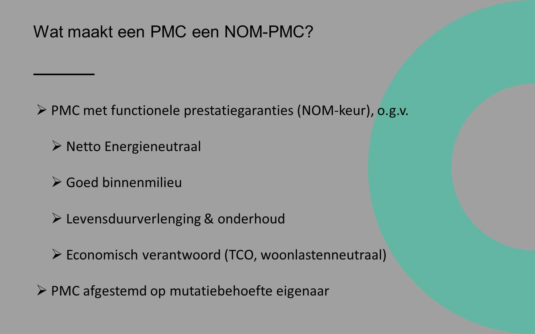 Wat maakt een PMC een NOM-PMC.  PMC met functionele prestatiegaranties (NOM-keur), o.g.v.