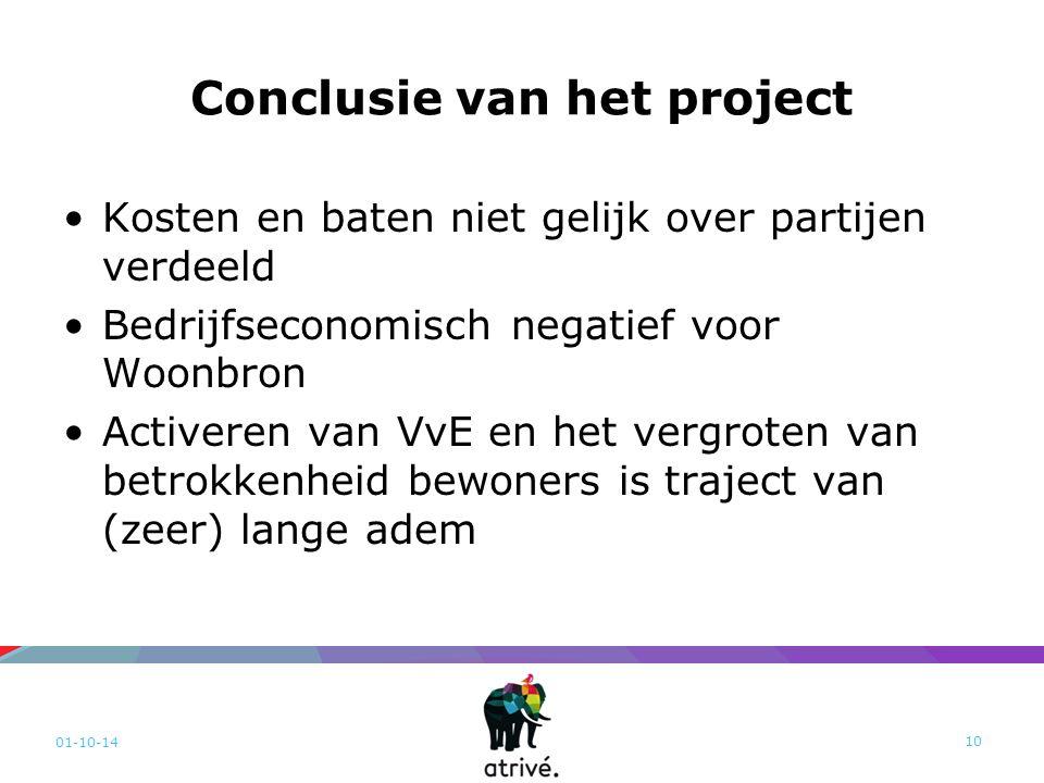 Conclusie van het project Kosten en baten niet gelijk over partijen verdeeld Bedrijfseconomisch negatief voor Woonbron Activeren van VvE en het vergro