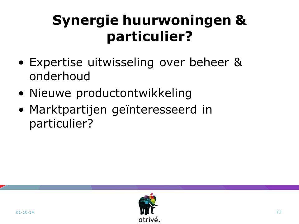 Synergie huurwoningen & particulier? Expertise uitwisseling over beheer & onderhoud Nieuwe productontwikkeling Marktpartijen geïnteresseerd in particu