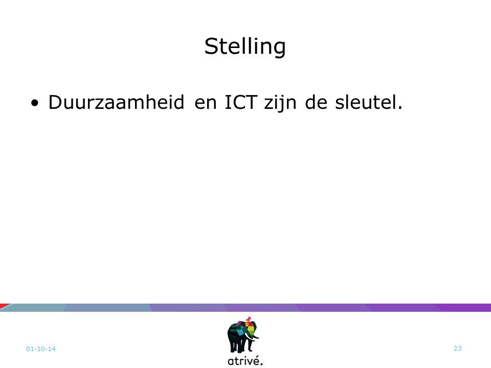 Stelling Duurzaamheid en ICT zijn de sleutel. 01-10-14 23