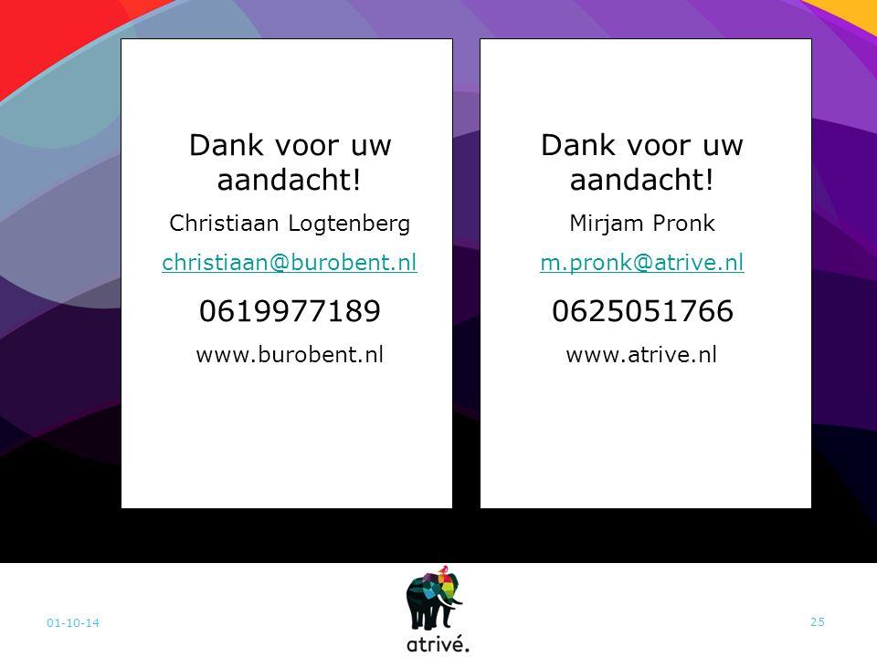 01-10-14 25 Dank voor uw aandacht! Mirjam Pronk m.pronk@atrive.nl 0625051766 www.atrive.nl Dank voor uw aandacht! Christiaan Logtenberg christiaan@bur