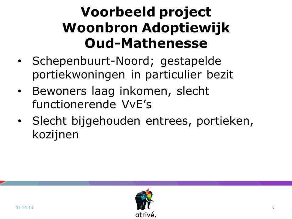 Voorbeeld project Woonbron Adoptiewijk Oud-Mathenesse Schepenbuurt-Noord; gestapelde portiekwoningen in particulier bezit Bewoners laag inkomen, slecht functionerende VvE's Slecht bijgehouden entrees, portieken, kozijnen 01-10-14 6