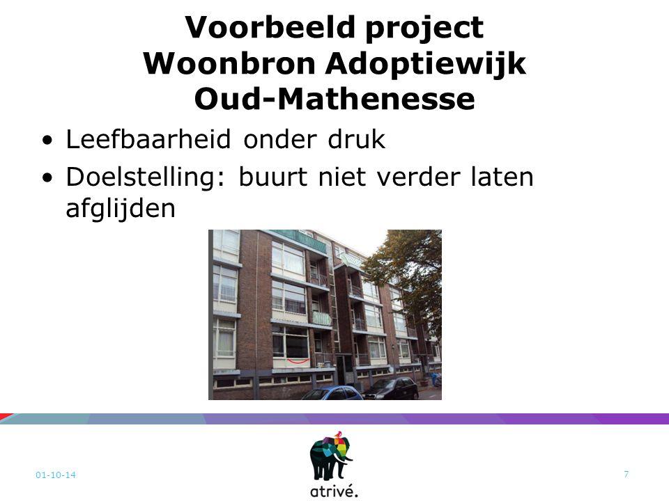 Voorbeeld project Woonbron Adoptiewijk Oud-Mathenesse Leefbaarheid onder druk Doelstelling: buurt niet verder laten afglijden 01-10-14 7