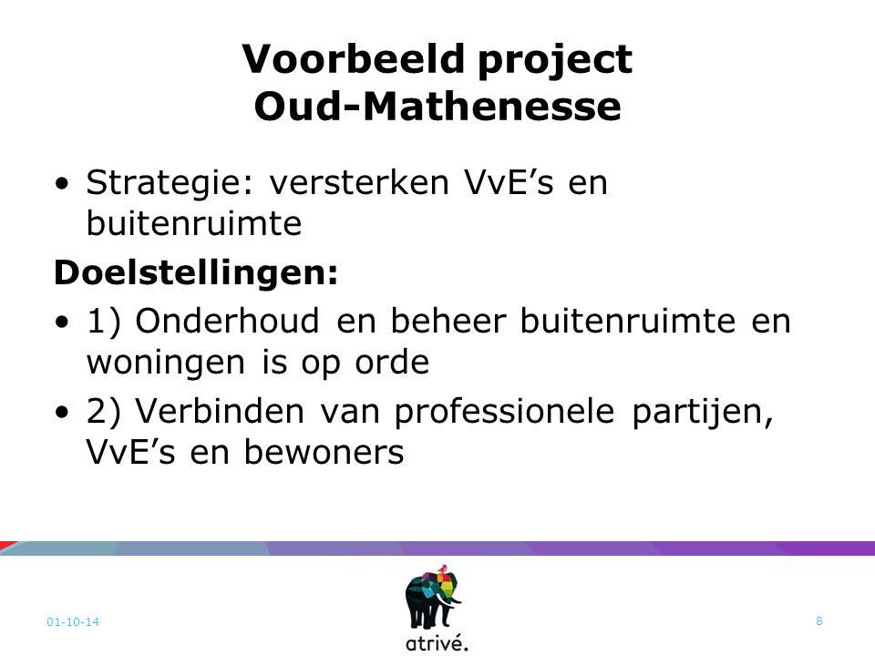 Voorbeeld project Oud-Mathenesse Strategie: versterken VvE's en buitenruimte Doelstellingen: 1) Onderhoud en beheer buitenruimte en woningen is op orde 2) Verbinden van professionele partijen, VvE's en bewoners 01-10-14 8