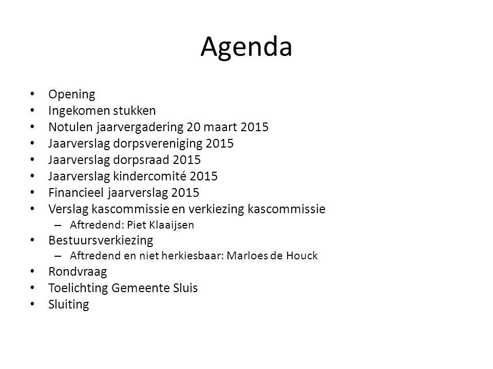 Agenda Opening Ingekomen stukken Notulen jaarvergadering 20 maart 2015 Jaarverslag dorpsvereniging 2015 Jaarverslag dorpsraad 2015 Jaarverslag kinderc