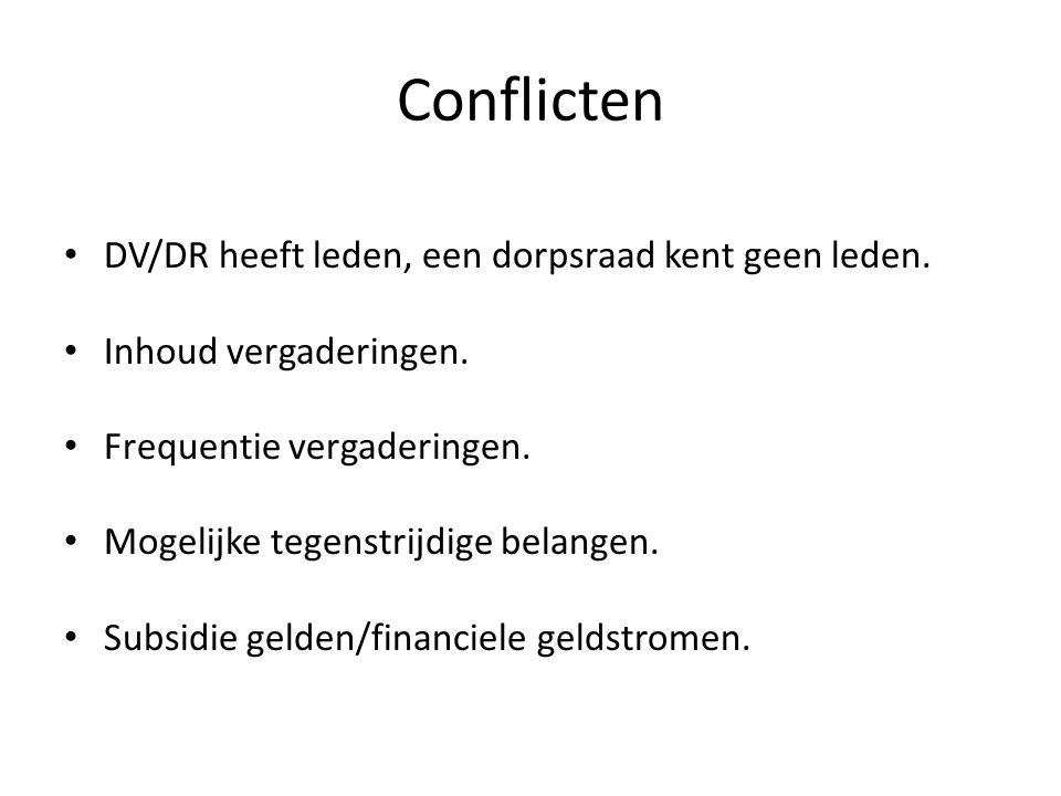 Conflicten DV/DR heeft leden, een dorpsraad kent geen leden. Inhoud vergaderingen. Frequentie vergaderingen. Mogelijke tegenstrijdige belangen. Subsid
