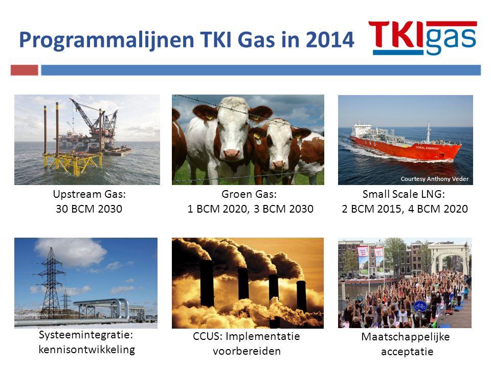 Upstream Gas: 30 BCM 2030 Small Scale LNG: 2 BCM 2015, 4 BCM 2020 Groen Gas: 1 BCM 2020, 3 BCM 2030 Systeemintegratie: kennisontwikkeling Maatschappelijke acceptatie CCUS: Implementatie voorbereiden Programmalijnen TKI Gas in 2014 Courtesy Anthony Veder