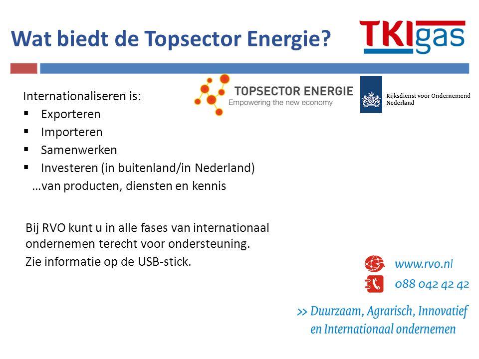Wat biedt de Topsector Energie? Internationaliseren is:  Exporteren  Importeren  Samenwerken  Investeren (in buitenland/in Nederland) …van product