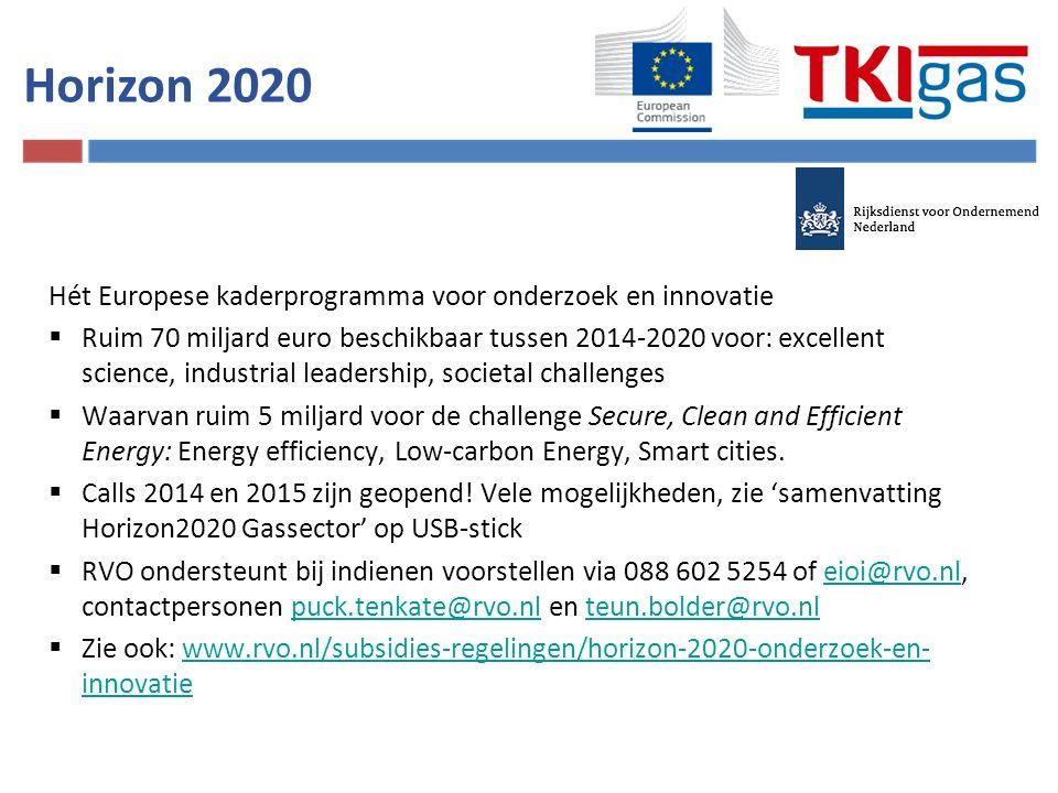 Horizon 2020 Hét Europese kaderprogramma voor onderzoek en innovatie  Ruim 70 miljard euro beschikbaar tussen 2014-2020 voor: excellent science, industrial leadership, societal challenges  Waarvan ruim 5 miljard voor de challenge Secure, Clean and Efficient Energy: Energy efficiency, Low-carbon Energy, Smart cities.