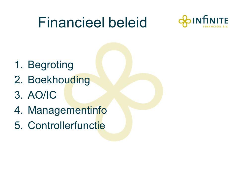 Financieel beleid 1.Begroting 2.Boekhouding 3.AO/IC 4.Managementinfo 5.Controllerfunctie