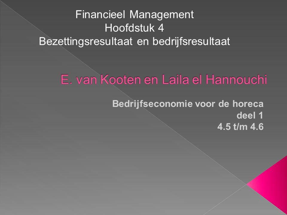 Bedrijfseconomie voor de horeca deel 1 4.5 t/m 4.6 Financieel Management Hoofdstuk 4 Bezettingsresultaat en bedrijfsresultaat