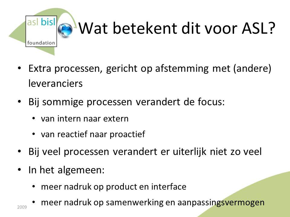 Wat betekent dit voor ASL? Extra processen, gericht op afstemming met (andere) leveranciers Bij sommige processen verandert de focus: van intern naar
